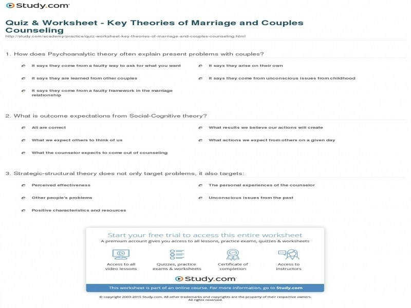 Quiz & Worksheet – Key Theories Marriage And Couples Counseling