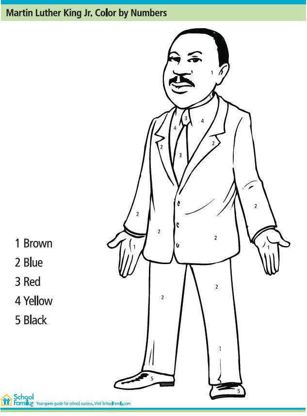 Martin Luther King Jr Color By Number Printables for Kids – free word search puzzles