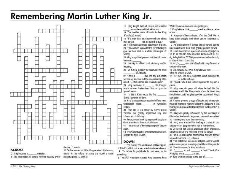 Remembering Martin Luther King Jr 5th 10th Grade Worksheet