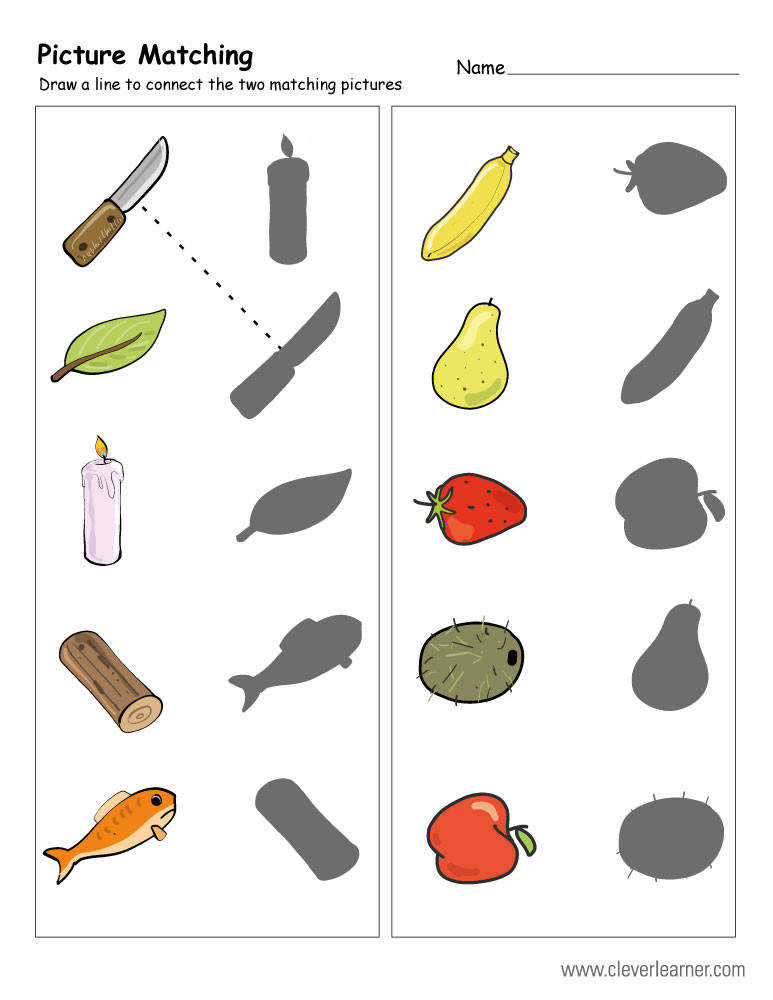 picture matching worksheet for kindergartens Match the pictures activity for preschools
