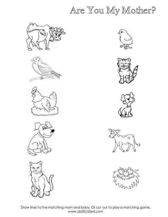 Are You My Mother Worksheet for mom baby animal matching cute
