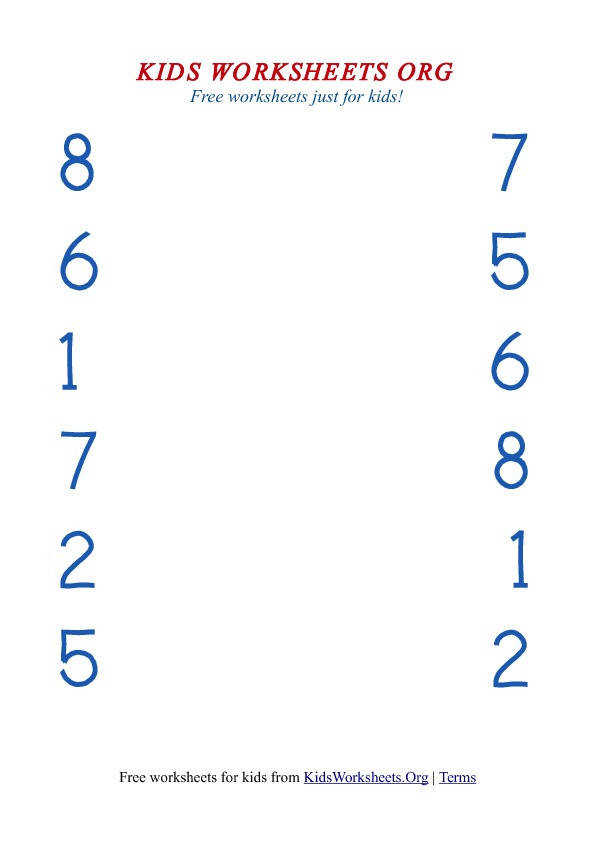Kids Match the Numbers Worksheet 2