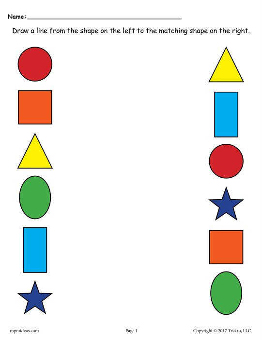 Free Printable Shape Matching Worksheet With Colors Page 1