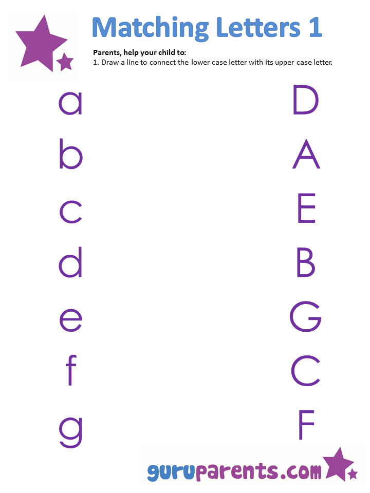 Matching upper and lower case letters worksheets
