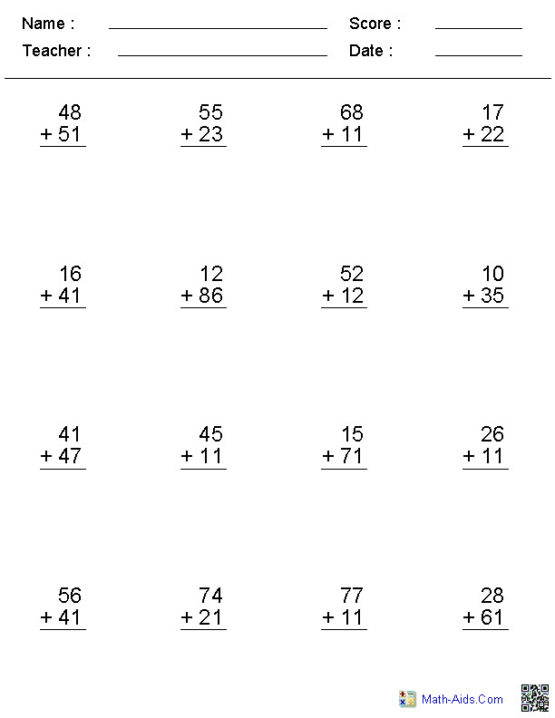 Addition Worksheets No Regroup