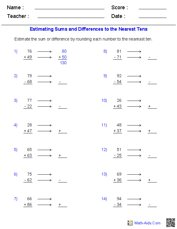 Estimation Worksheets Sums and or Differences 2 Digits with Rounding Guide