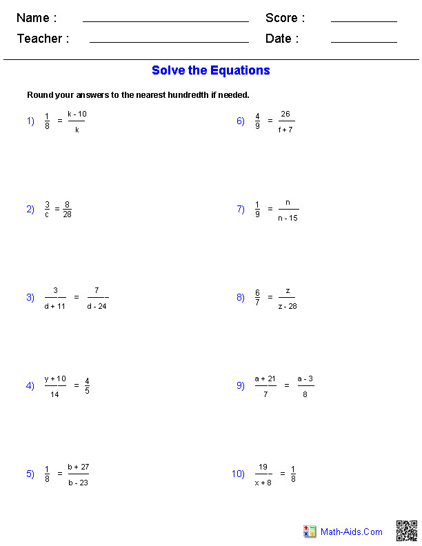 Equations Worksheets