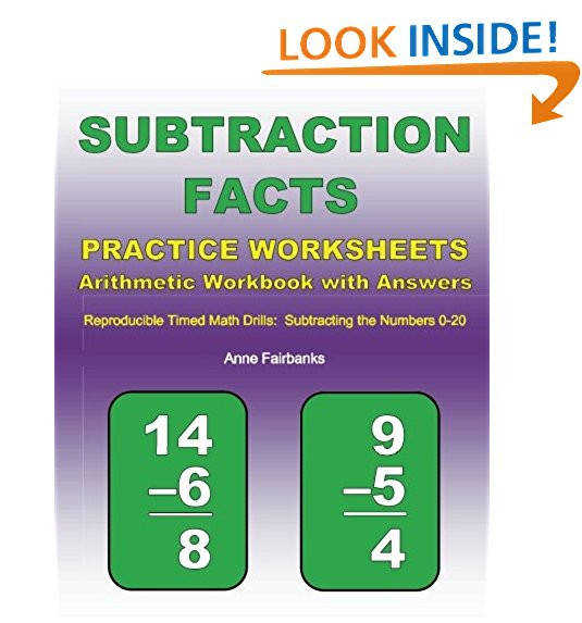 Subtraction Facts Practice Worksheets Arithmetic Workbook with Answers Reproducible Timed Math Drills Subtracting the Numbers 0 20