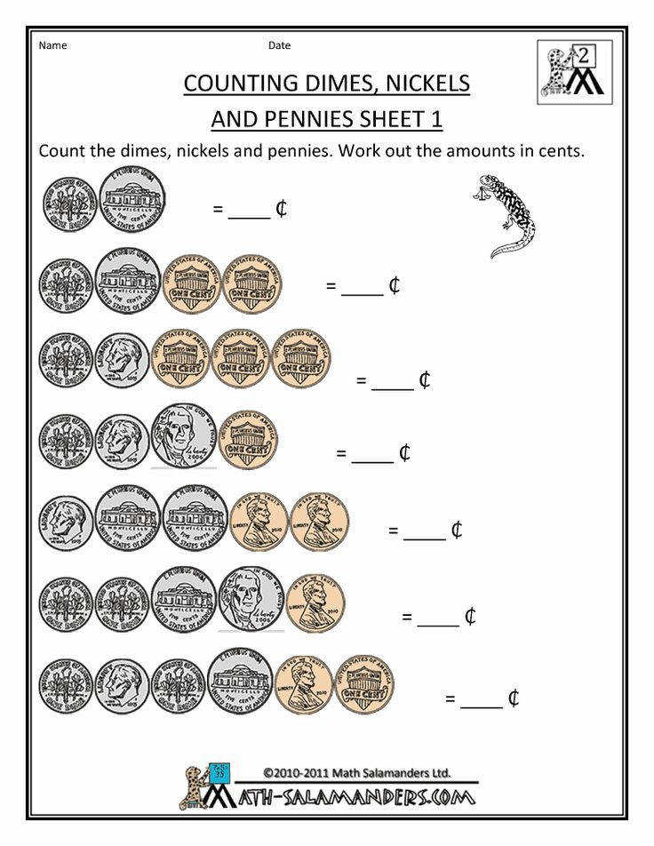 counting money worksheets dimes nickels and pennies 1