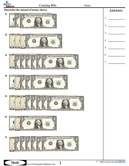 Counting Bills worksheet Counting Bills worksheet