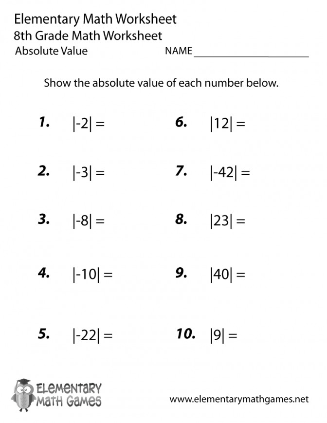 Eighth Grade Absolute Value Worksheet Free Ged Math Practice Worksheets 8th Prin Free Ged Math Practice