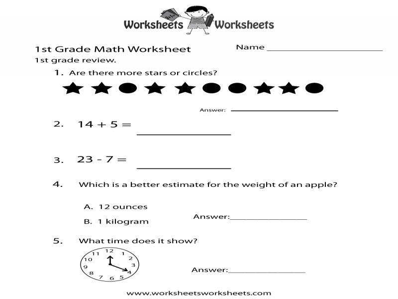 First Grade Math Practice Worksheet Free Printable Educational