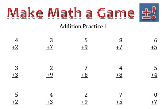 math addition practice sheet
