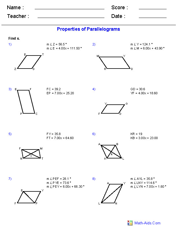 Properties of Parallelograms Worksheets