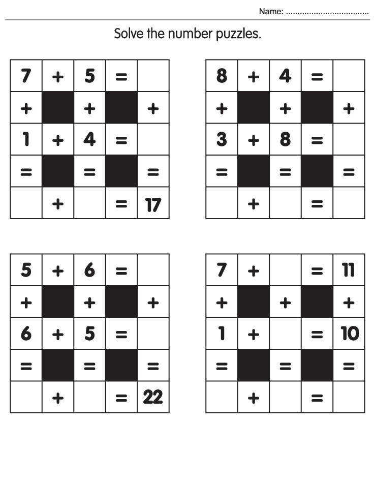 Math Puzzles Worksheet