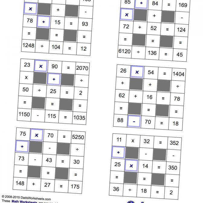 Math Worksheets All Operations Grid Puzzles With Missing Values Maths 16ebb2079e2426f94f8eb68ae00 Maths Puzzles Worksheets Worksheet Medium