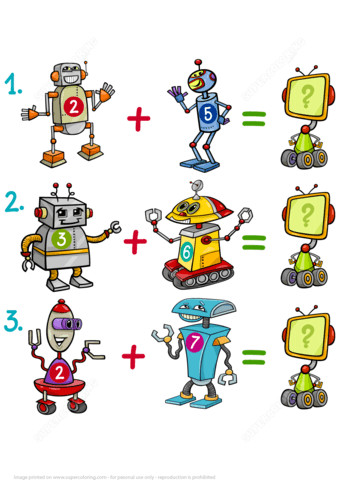 to see printable version of Addition of Robots Math Puzzle Worksheet Puzzle game