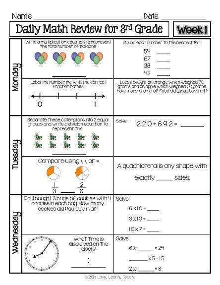 FREE 1 week sample of spiral Daily Math Review for 3rd grade available now Time money and paper saver e sheet of paper front and back per student