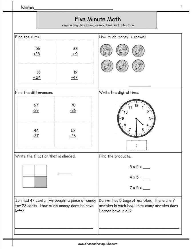 Five Minute Math Review Worksheets From The Teachers Guide Fiveminutemathregro Math Revision Worksheets Worksheet Medium