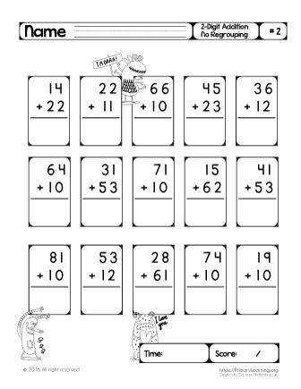 Our two digit addition worksheets without regrouping will help her to master the fundamental math skills and solve addition problem easily