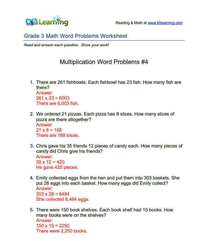 math word problems answers