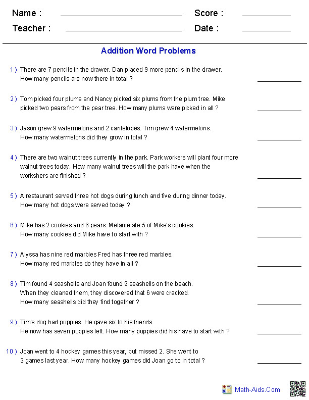 Math Word Problems Worksheets