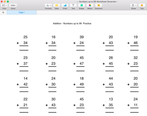 Addition Numbers up to 99 Worksheet Generator Singapore Math by moomel Teaching Resources Tes