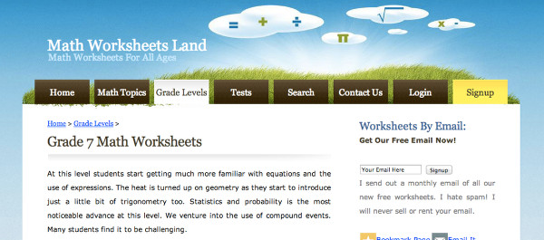 Site Review Math Worksheets Land