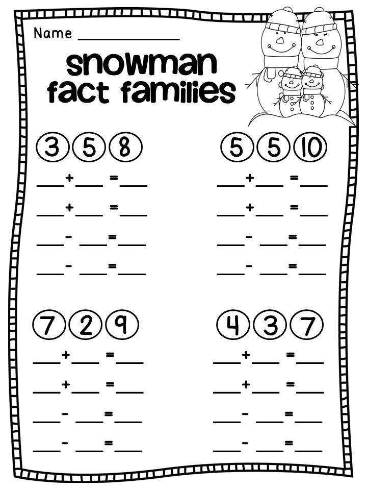 Math Worksheets Fact Families for First Grade