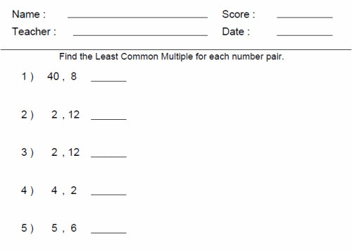 6th Grade line Math Worksheets