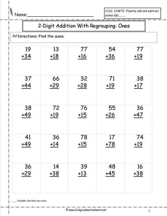 Math Worksheets 2nd Grade Snapshoot Math Worksheets 2nd Grade Screnshoots Two Digit Addition