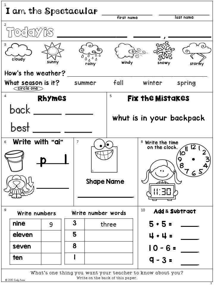 Second Grade Morning Work Freebie Addition subtraction shapes time numbers