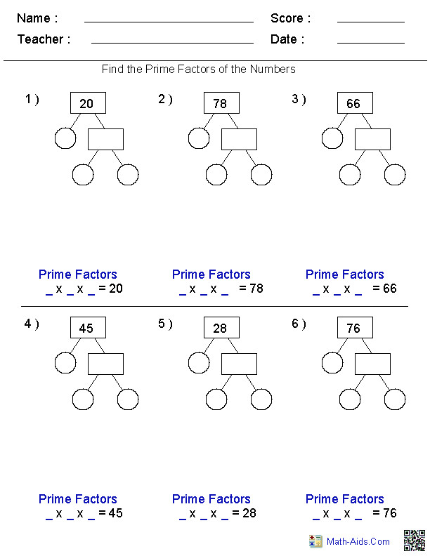 Math Worksheets · Factors Worksheets