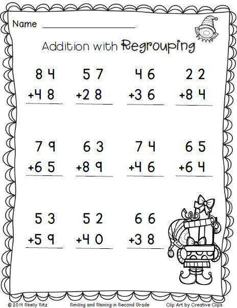 Christmas Math Addition with regrouping FREE 2nd grade math worksheets