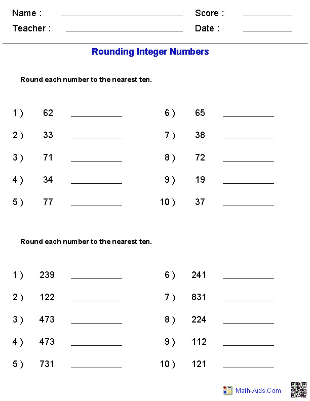 Math Worksheets · Rounding Worksheets