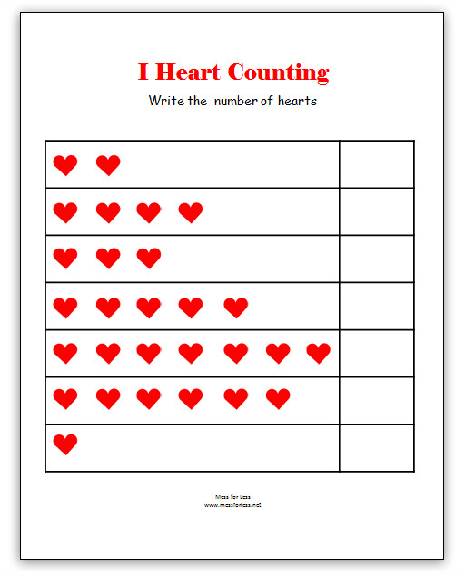 Valentine s Math Kindergarten Worksheets