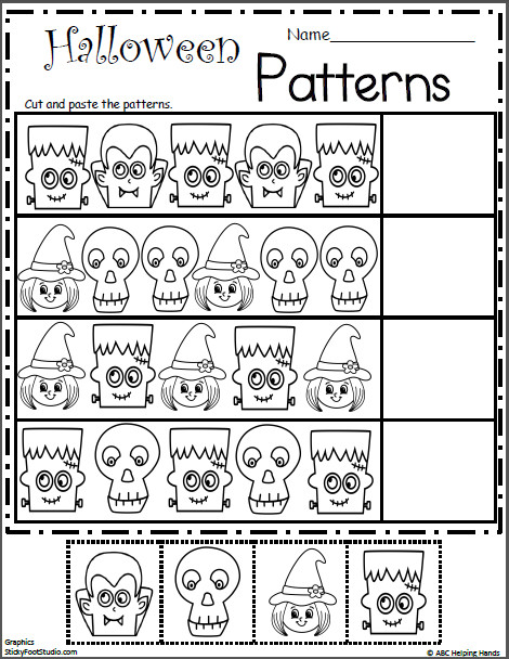 Free Halloween Cut and Paste Math Patterns – Free math worksheets for Kindergarten and Preschool Teach students how to make a pattern first then give them
