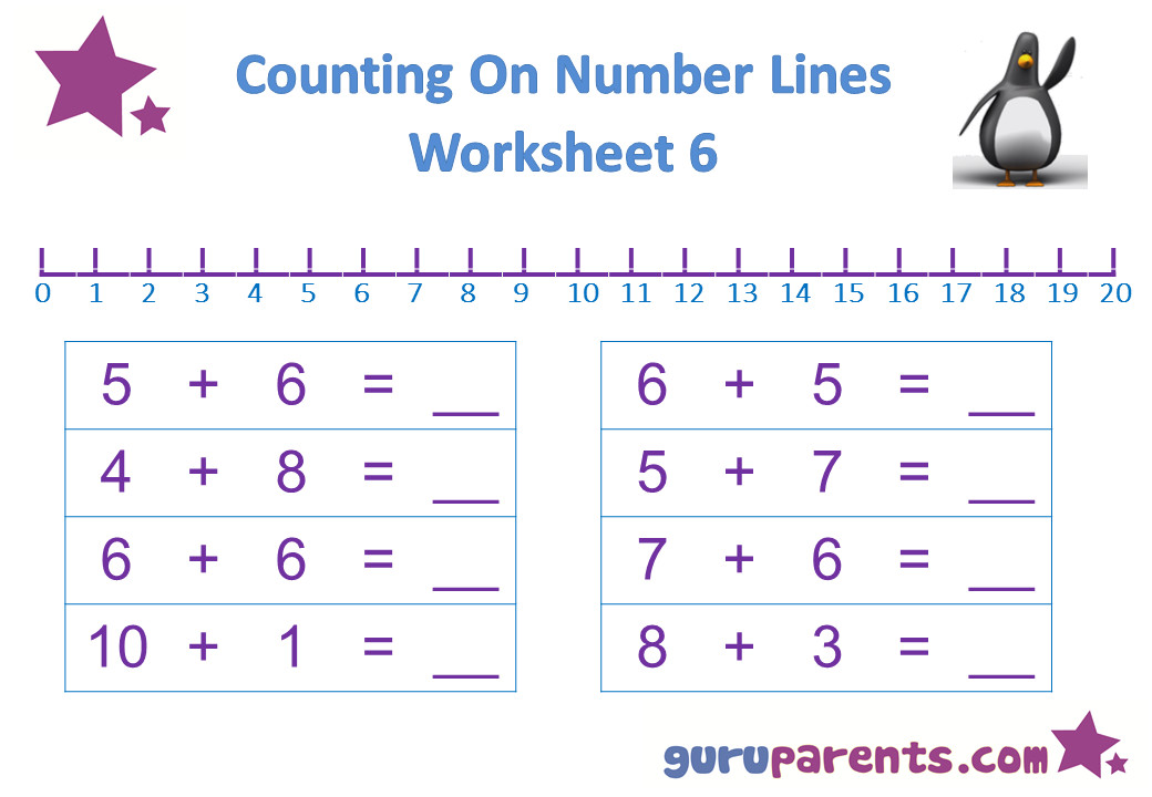 Preschool Math Number Line Worksheet 6