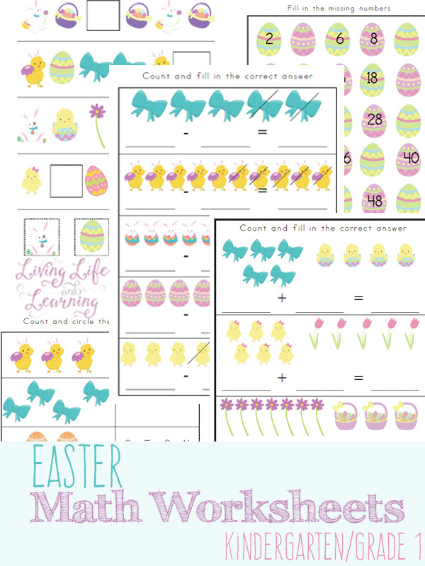 Super cute Easter Kindergarten math worksheets for number sense addition subtraction and patterns