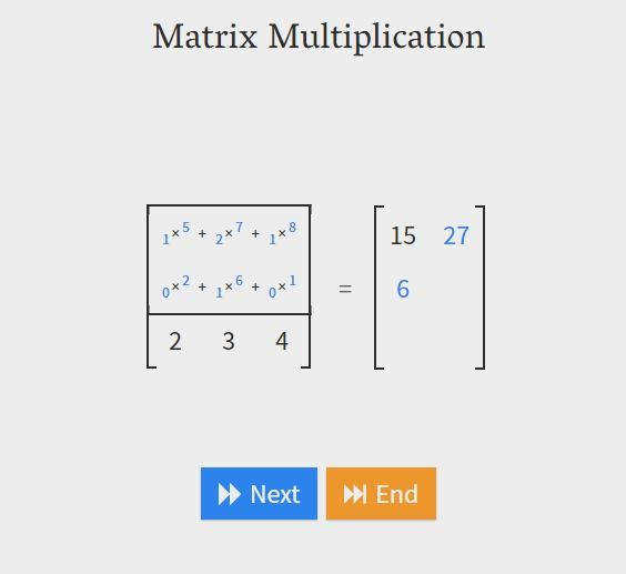 An interactive matrix multiplication calculator for educational purposes