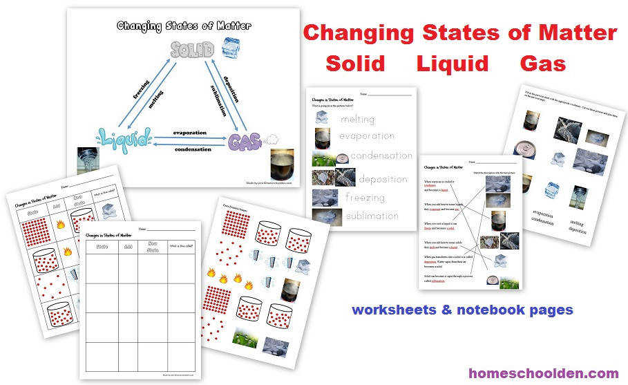 Changing States of Matter worksheets and notebook pages