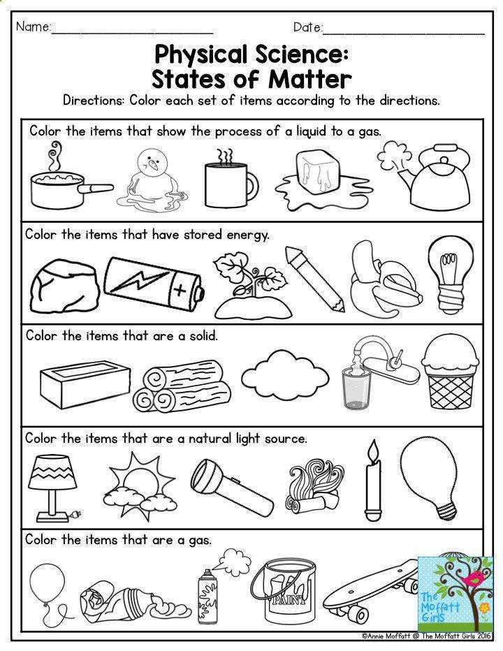 Physical Science States of Matter This is a great exercise for Third Grade…