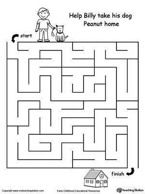 Boost fine motor skills and develop their concept of direction with this printable pet walk maze
