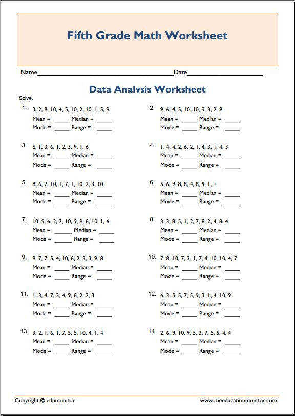 Mean median mode math worksheets