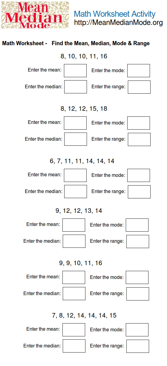 mean median mode worksheet