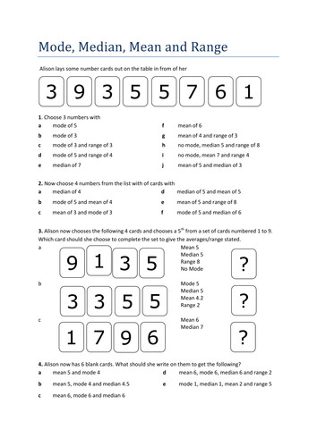Not your usual Mean Mode Median worksheet by Tristanjones Teaching Resources Tes