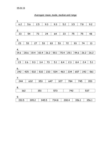 Mean median mode and range worksheet by louiseconnelly Teaching Resources Tes