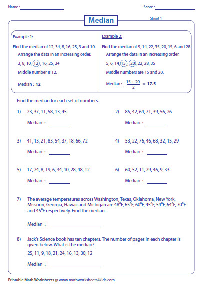 Finding Median worksheets