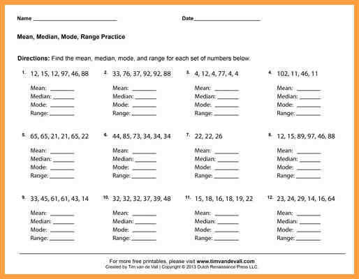 mean median mode and range worksheets mean median