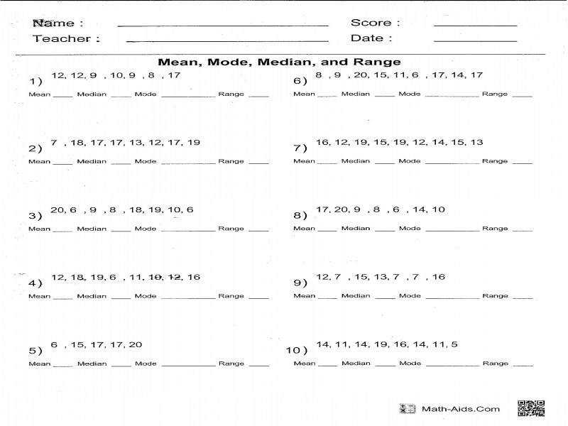 Median Mode And Range Worksheets Worksheets
